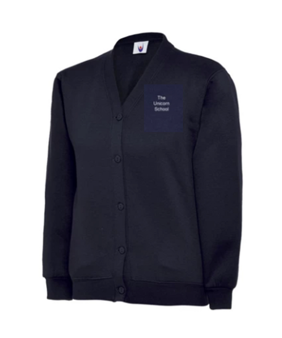 The Unicorn School, Years 7-11 Cardigan, EMB Logo, White text. (MD04B,NAVY)
