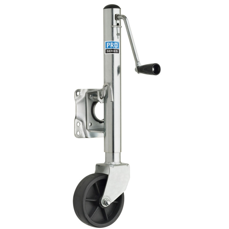 "Pro Series 1000 lbs. Zinc Plated Swivel Jack w/6"" Poly Wheel [EJ10000101]"
