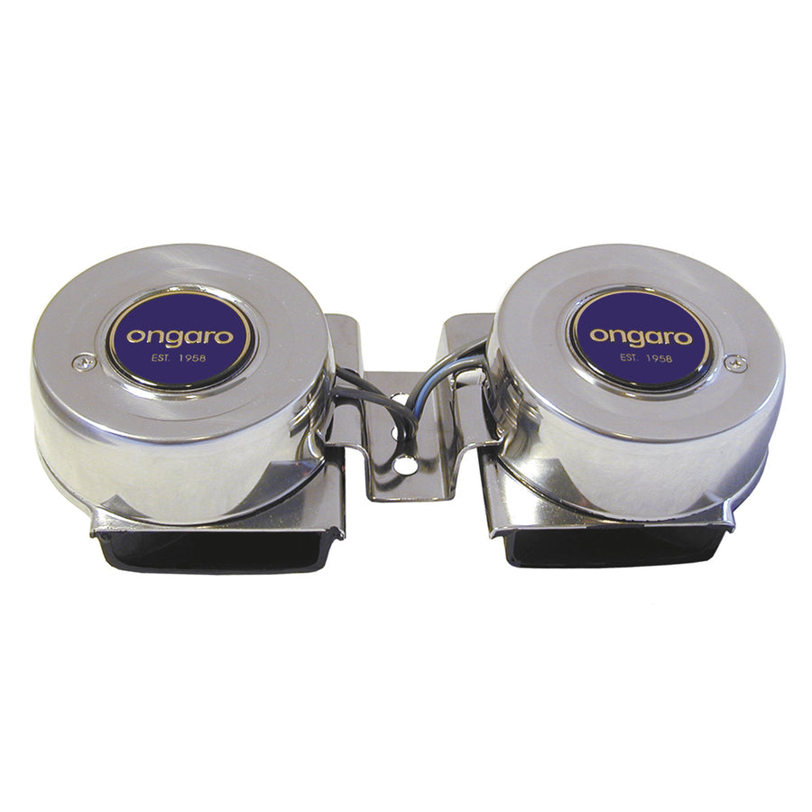Ongaro All-Stainless Mini Compact Twin Horn - 12V [10002]