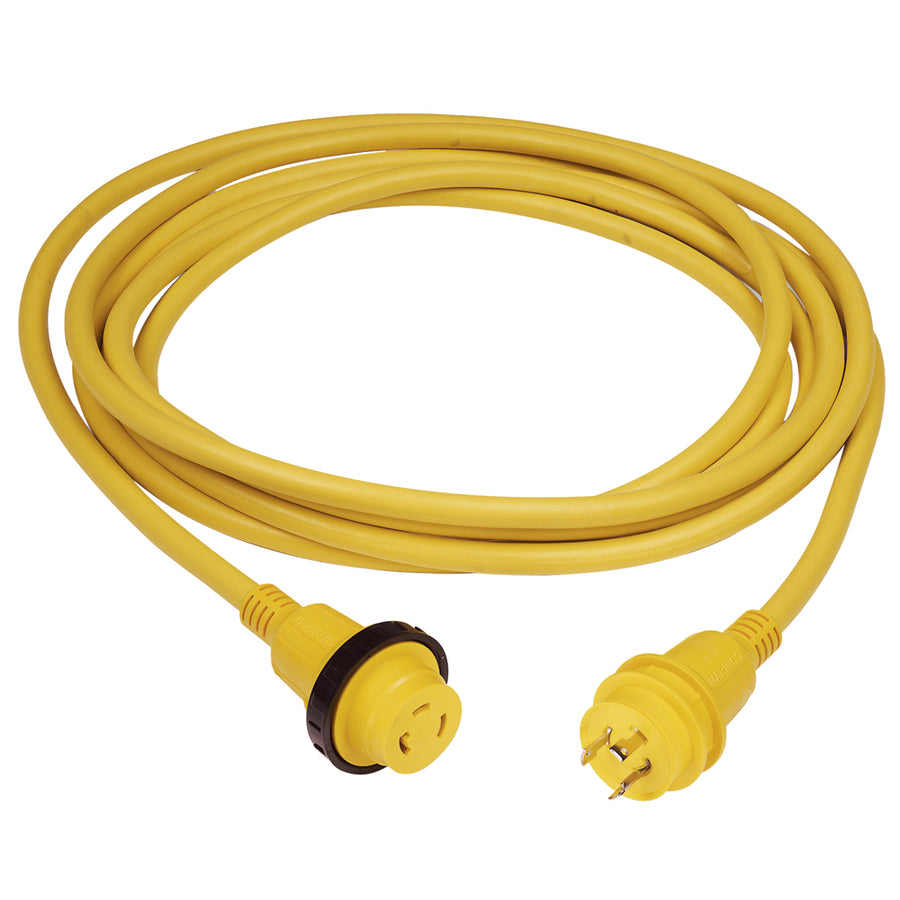 Marinco 30 Amp PowerCord PLUS Cordset w-Power-On LED - Yellow 50ft [199119]