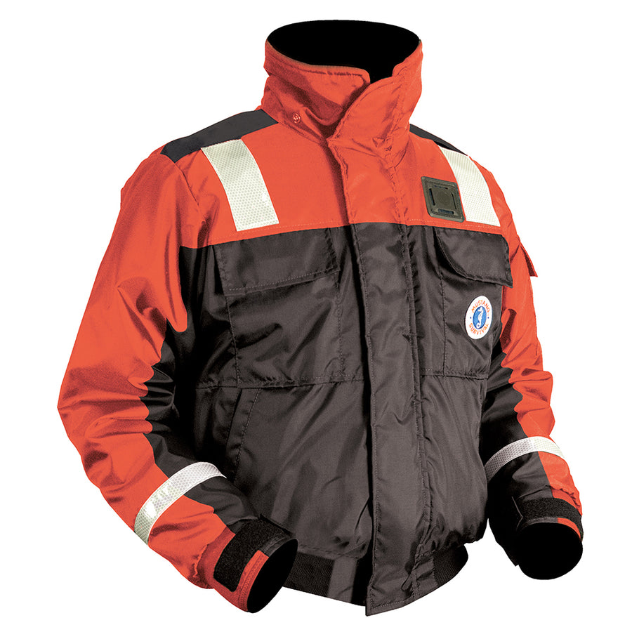 Mustang Classic Bomber Jacket w-SOLAS Tape - Large - Orange-Black [MJ6214T1-L-OR-BK]