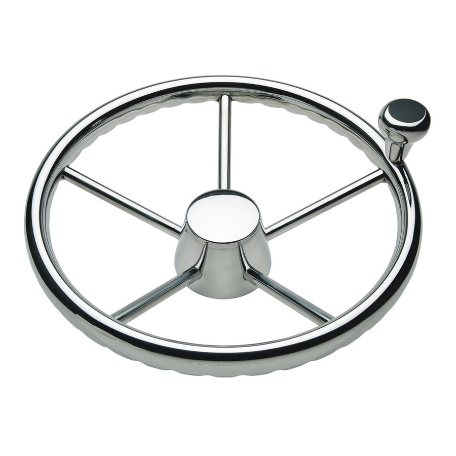"Schmitt 170 13.5"" Stainless 5-Spoke Destroyer Wheel w- Stainless Cap and FingerGrip Rim - Fits 3-4"" Tapered Shaft Helm [1731321FGK]"