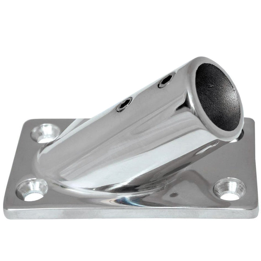 "Whitecap 1"" O.D. 30 Degree Rectangle Base SS Rail Fitting [6178C]"