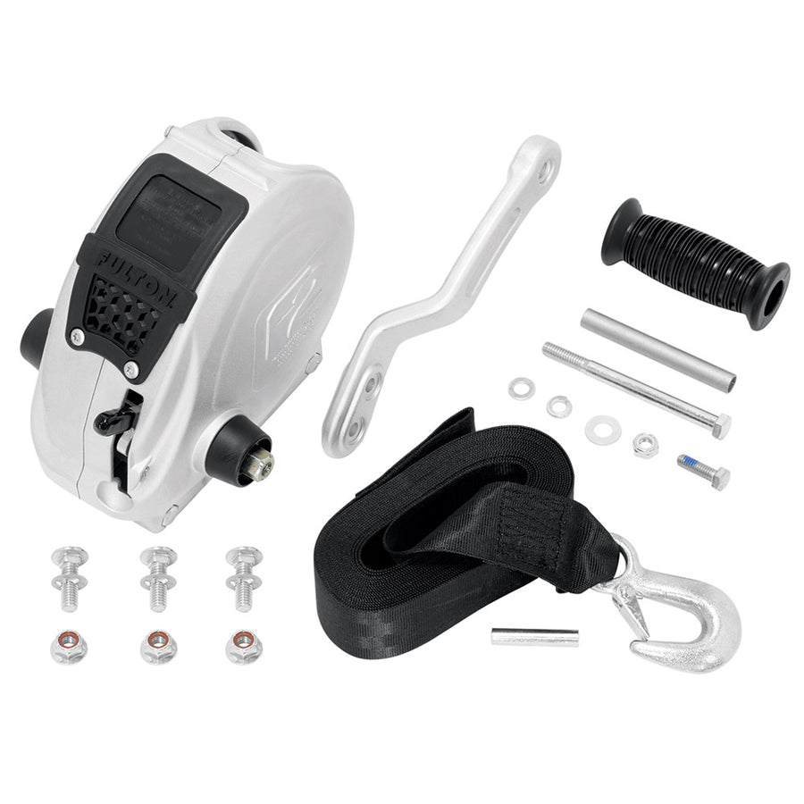 Fulton F2 Trailer Winch 1,600 lbs. - Single Speed w-Strap, Sharkskin Finish [FW16000101]