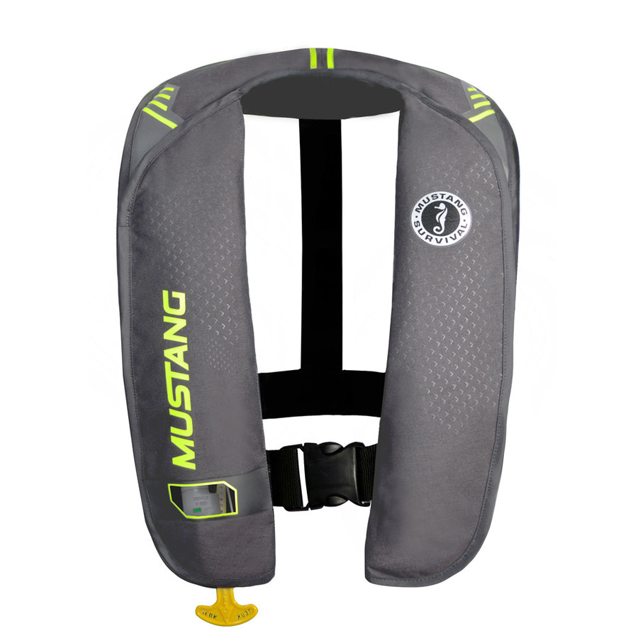 Mustang MIT 100 Inflatable Manual PFD - Gray-Flourescent Yellow-Green [MD2014-02-GY-YW]