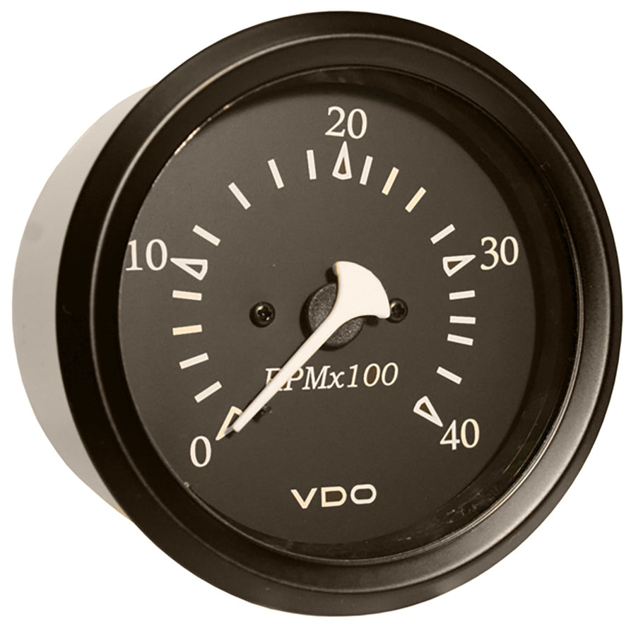 "VDO Allentare Black 4000RPM 3-3-8"" (85mm) Diesel Tachometer (Alternator) - 12V - Black Bezel [333-11797]"