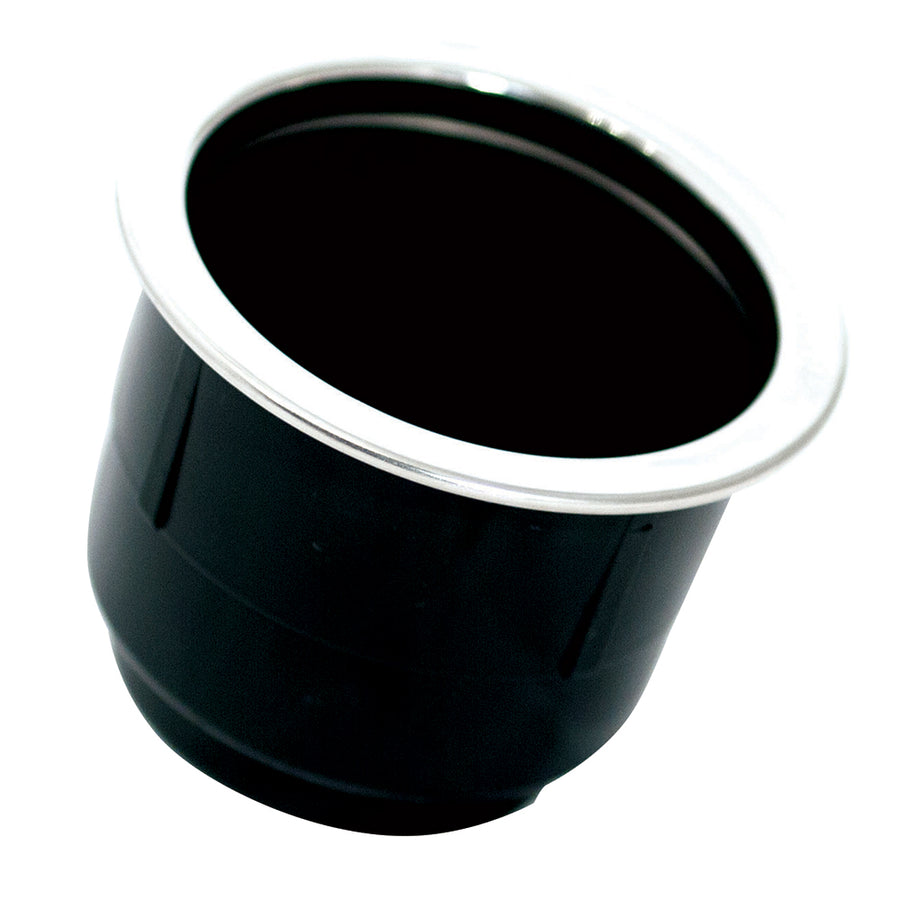 Tigress Black Plastic Cup Holder Insert w-SS Ring On Top [PCHE-BP]