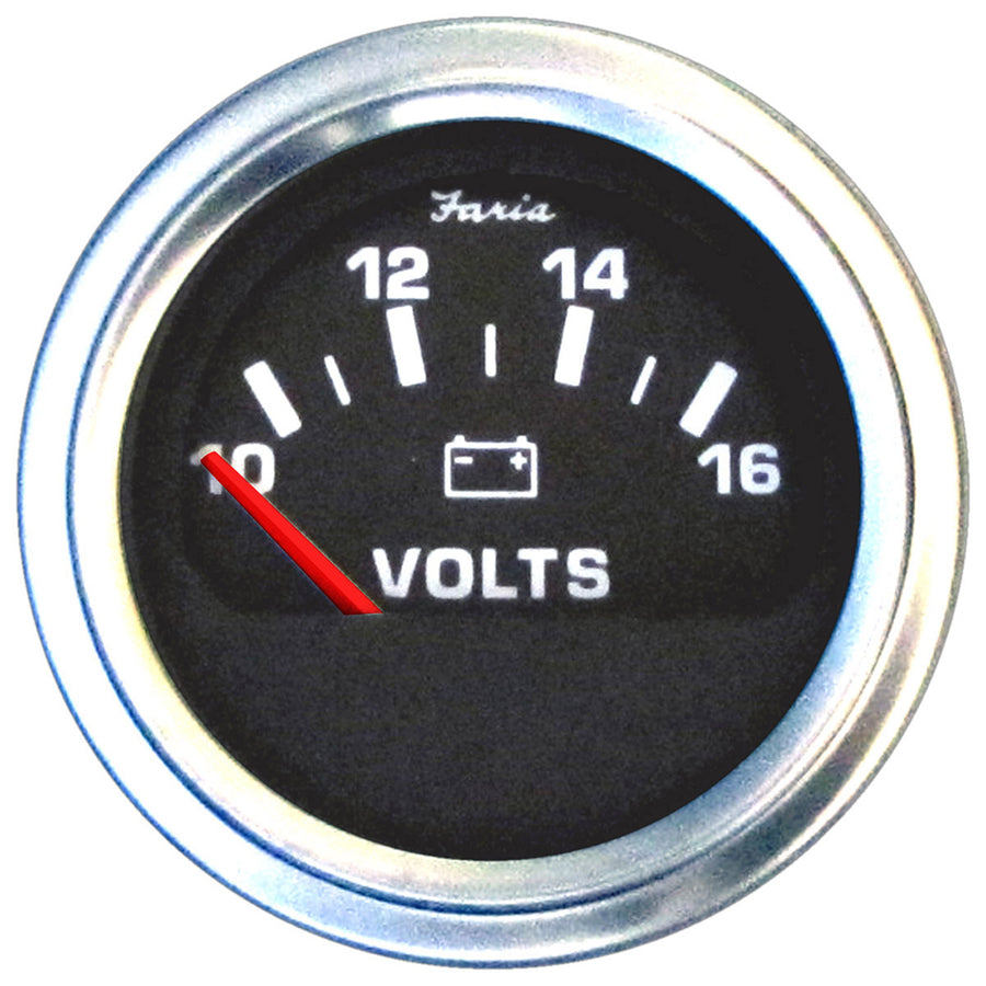 "Faria 2"" Voltmeter (10-16 VDC) Unlit 12V Black w-Stainless Steel Bezel  Orange Pointer - Case of 24 [VP0125]"