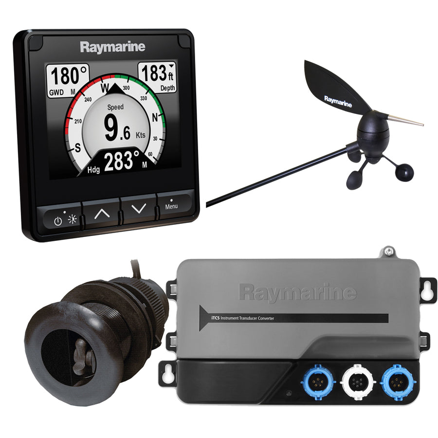 Raymarine i70s System Pack w-Color Instrument  Wind, DST Transducers, iTC-5, 3M Backbone, T-Piece, Power  2 Backbone Terminators [T70216]