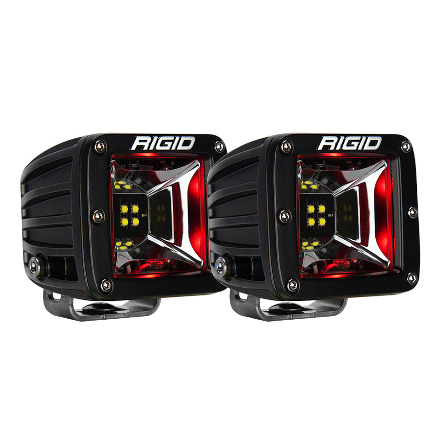 RIGID Industries Radiance Scene Lights - Surface Mount Pair - Black w-Red LED Backlight [68202]