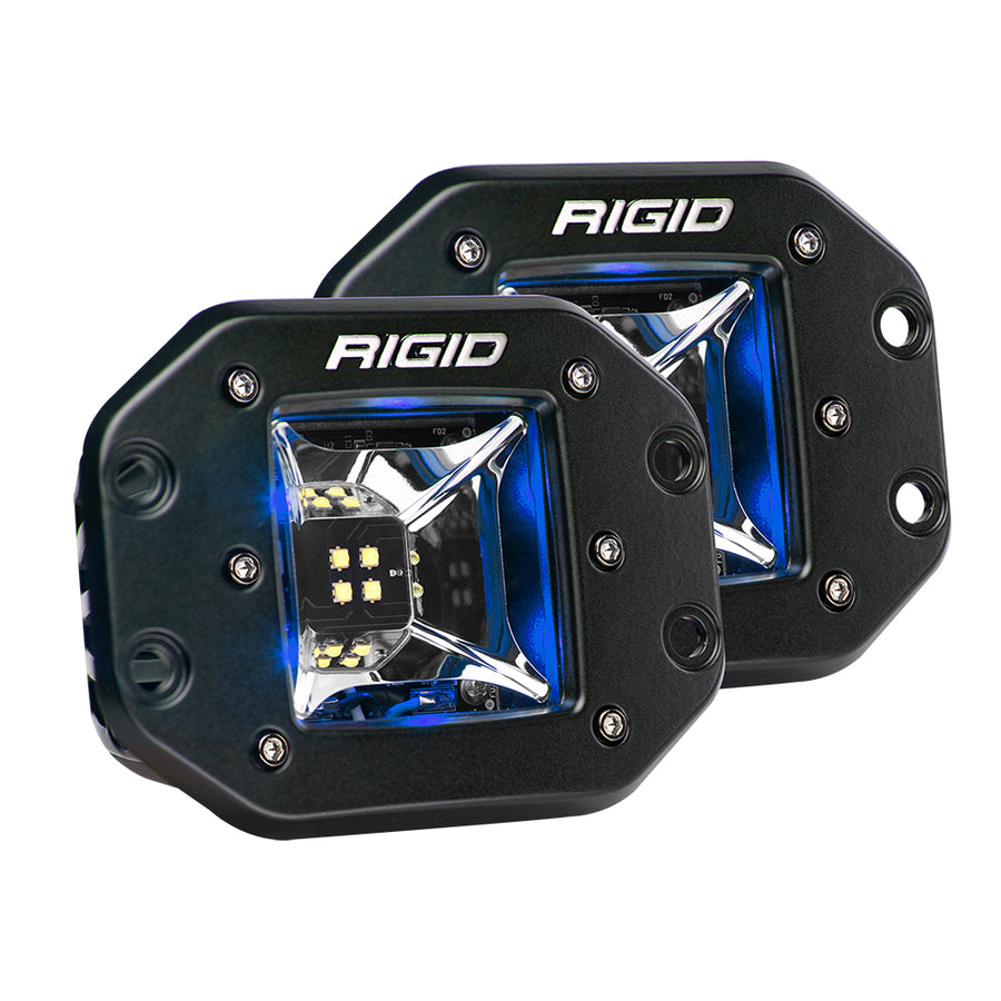 RIGID Industries Radiance Scene Lights - Flush Mount Pair - Black w-Blue LED Backlights [68211]