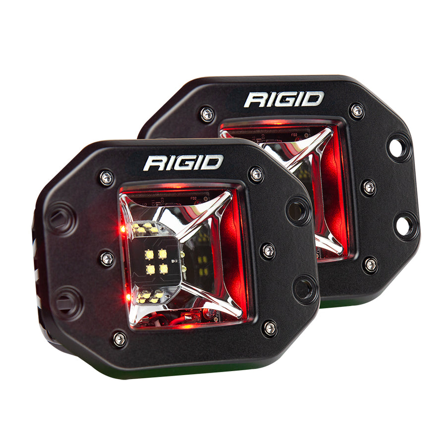 RIGID Industries Radiance Scene Lights - Flush Mount Pair - Black w-Red LED Backlights [68212]