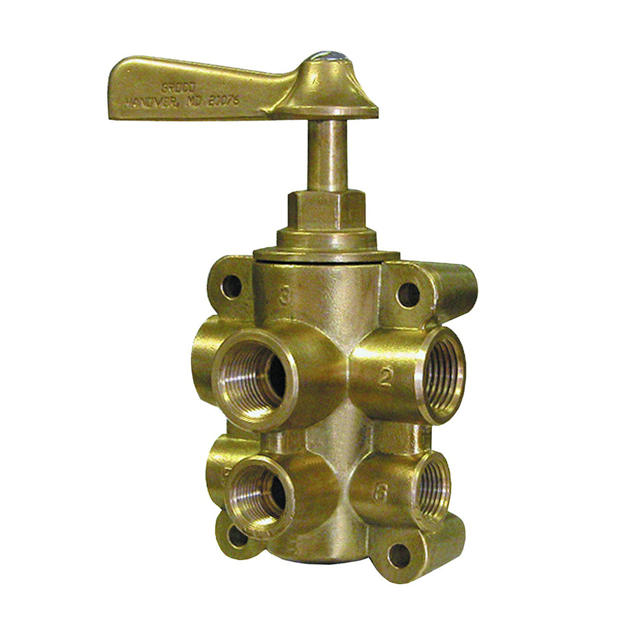 "GROCO 6-Port NPT Bronze Fuel Valve 1-2"" Main - 3-8"" Return [FV-65038]"