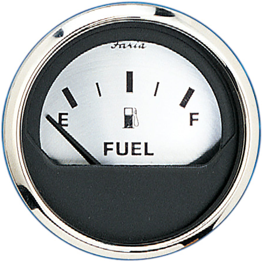 "Faria 2"" Fuel Level Gauge (E-1-2-F) - Spun Silver [16001]"