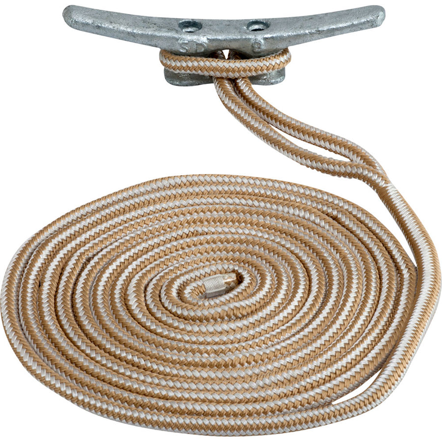 "Sea-Dog Double Braided Nylon Dock Line - 5/8"" x 15 - Gold/White [302116015G/W-1]"