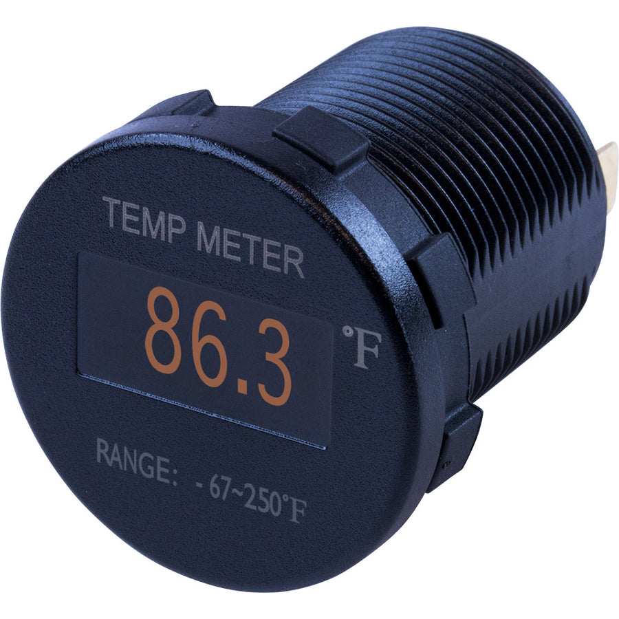 Sea-Dog Round OLED Temperature Meter Fahrenheit w-6 Lead [421610-1]