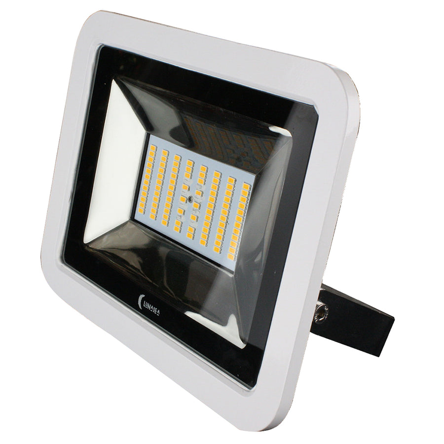 Lunasea 35W Slimline LED Floodlight, 120-240VAC Only, Cool White, 4500 Lumens, 3 Cord - White Housing [LLB-36MN-41-00]