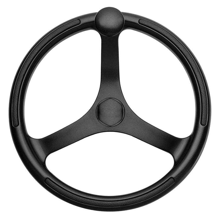 "Schmitt  Ongaro Primus Wheel 13.5"" Black 3/4"" Tapered Shaft w/Knob Finger Grips - Black Powder Coat [742132BFGK]"