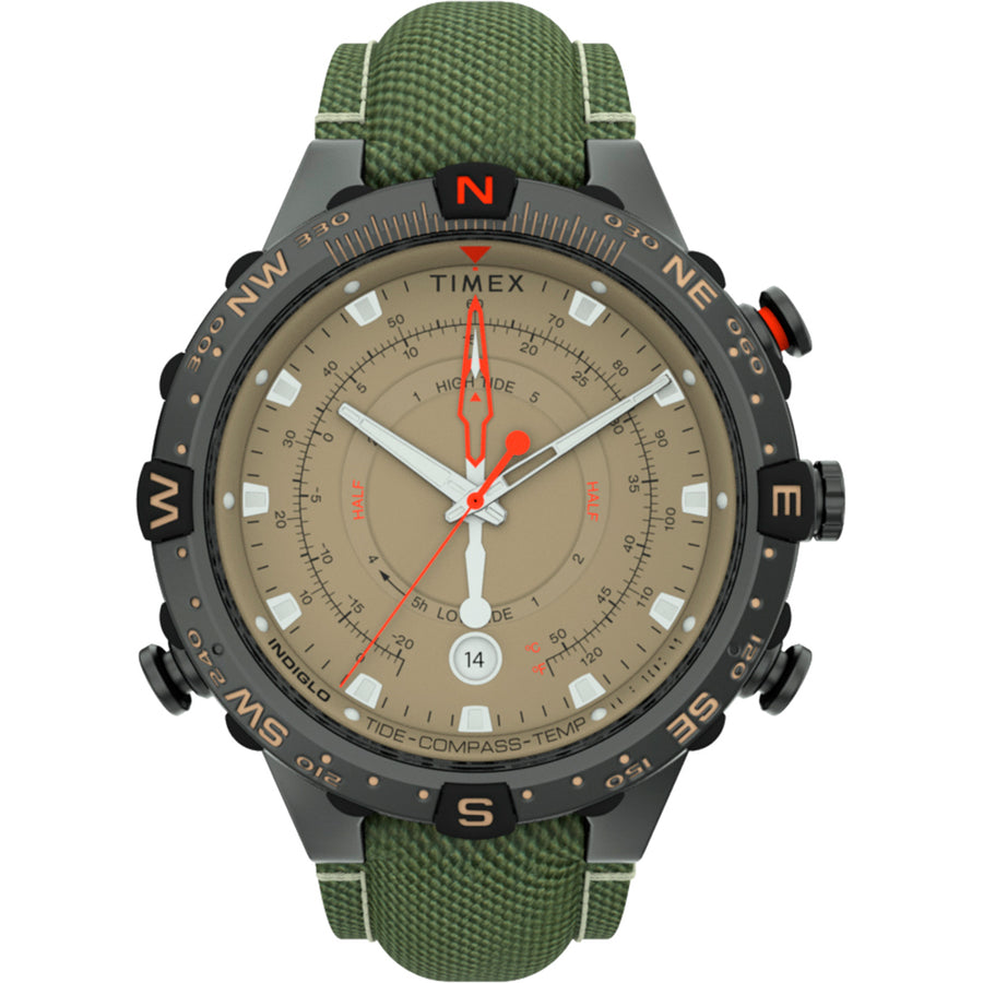 Timex Allied 45mm Tide Temp Compass - Gunmetal  Tan [TW2T76500JV]