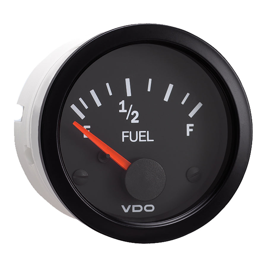 "VDO 2-1-16"" (52mm) Vision Fuel Gauge (E-1-2-F) Black Dial  Bezel [301-107]"