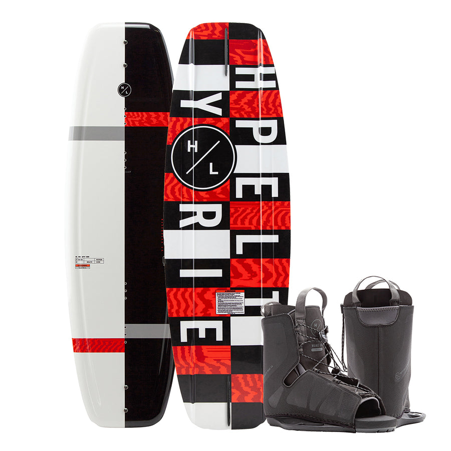 Hyperlite Motive Wakeboard 140cm w/Frequency Boot (OSFA - Size 6 to 12) - 2021 Edition - Black/Red [20284274]