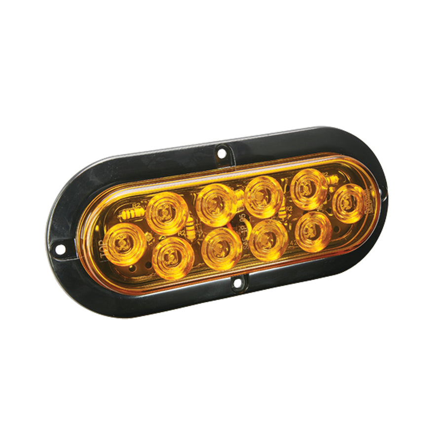 "Wesbar LED Waterproof 6"" Oval Surgace Flange Mount Tail Light - Amber w-Black Flange Base [40-767758]"