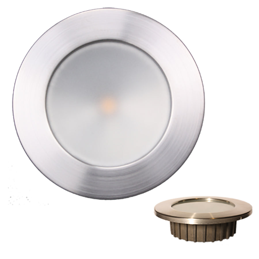 Lunasea ZERO EMI Recessed 3.5 LED Light - Warm White, Blue w-Brushed Stainless Steel Bezel - 12VDC [LLB-46WB-0A-BN]