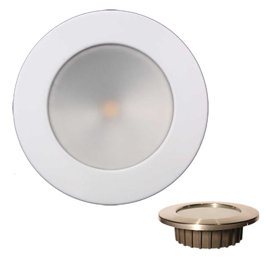 Lunasea ZERO EMI Recessed 3.5 LED Light - Warm White, Blue w-White Stainless Steel Bezel - 12VDC [LLB-46WB-0A-WH]