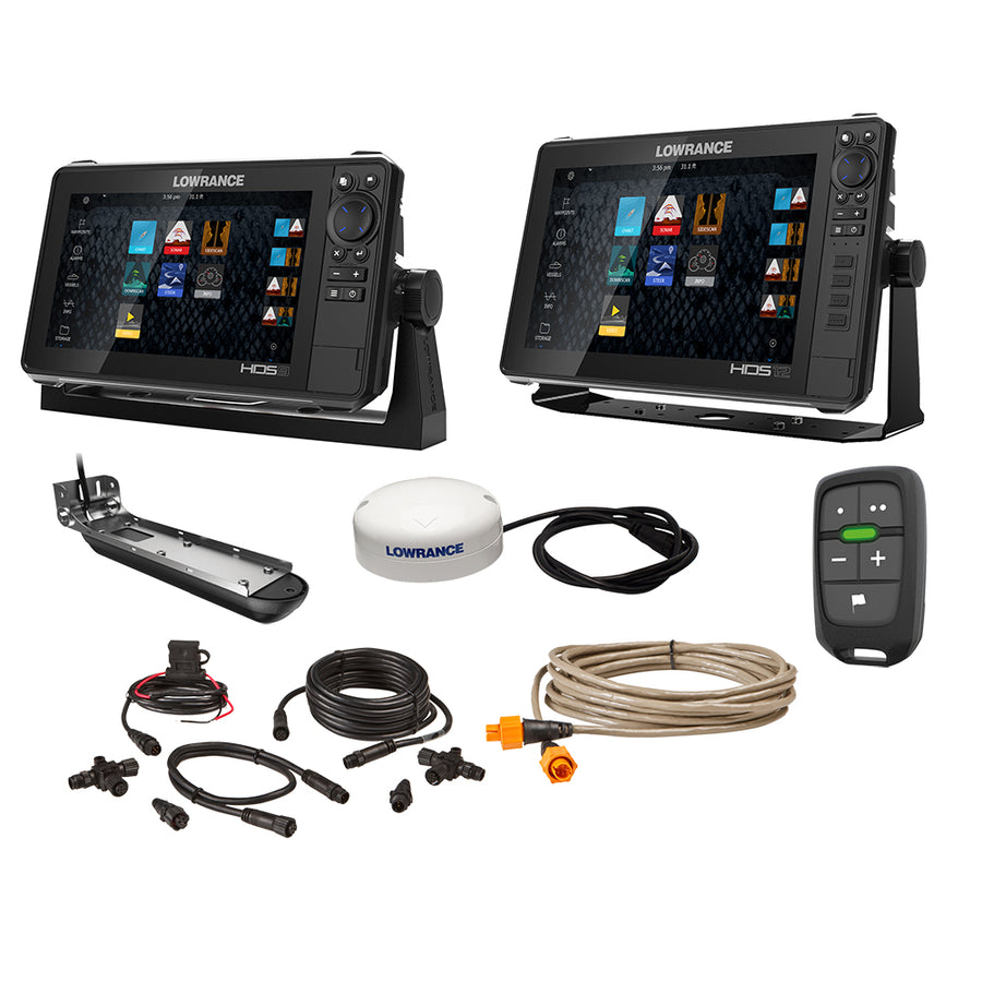 "Lowrance HDS Live Bundle - 9""  12"" Display AI 3-In-1 T/M Transducer, Point 1 GPS Antenna, LR-1 Remote  Cabling [000-15782-001]"