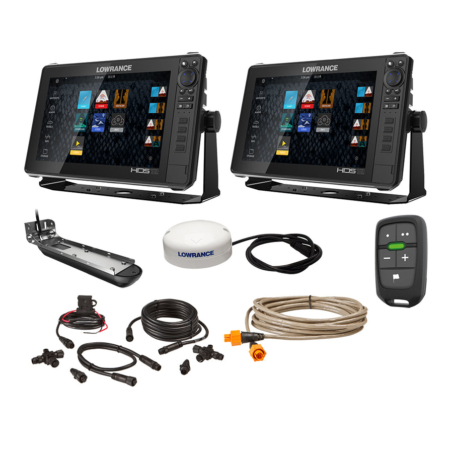 "Lowrance HDS Live Bundle - 2 -12"" Displays, AI 3-In-1 T/M Transducer, Point 1 GPS, LR-1 Remote  Cabling [000-15783-001]"
