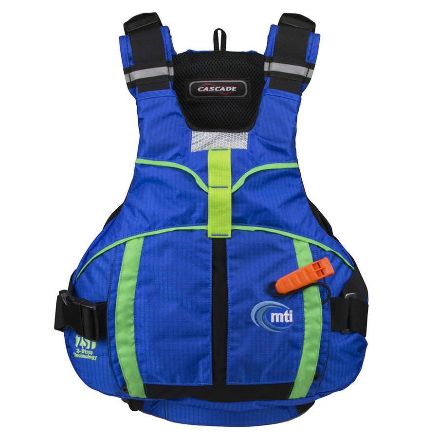 MTI Cascade Life Jacket - Bombay Blue/Lime - Large/X-Large [MV706D-L/XL-807]