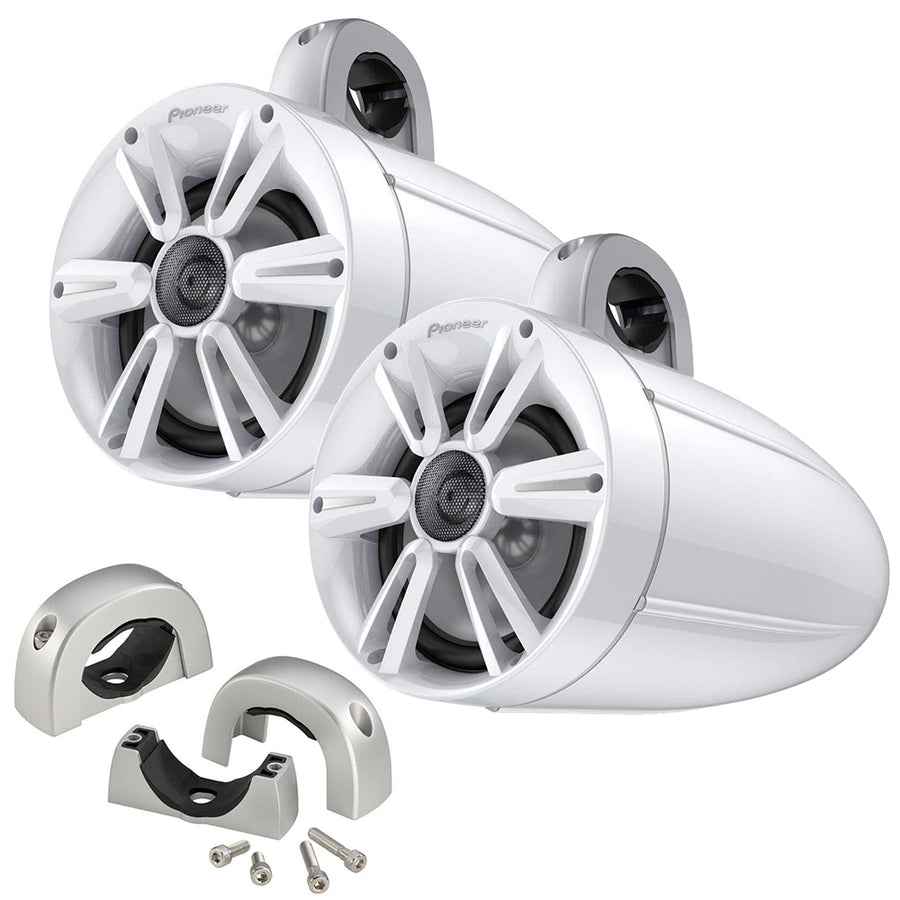 "Pioneer Audio 7.7"" 250W IPX7 Tower Speaker w/RGB LED Lighting - Max Sports Grill- White  Mounting Clamps [TS-ME770TSW-K]"