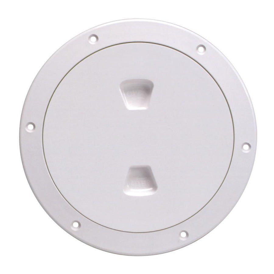 "Beckson 6"" Smooth Center Screw-Out Deck Plate - White [DP60-W] - 10X Marine"