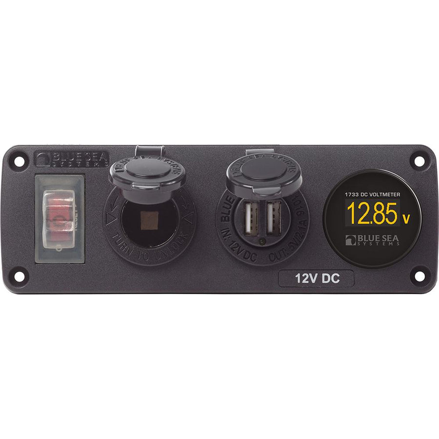 Blue Sea 4366 Water Resistant USB Accessory Panel - Circuit Breaker, 12V Socket, Dual USB Charger, Mini Voltmeter [4366] - 10X Marine