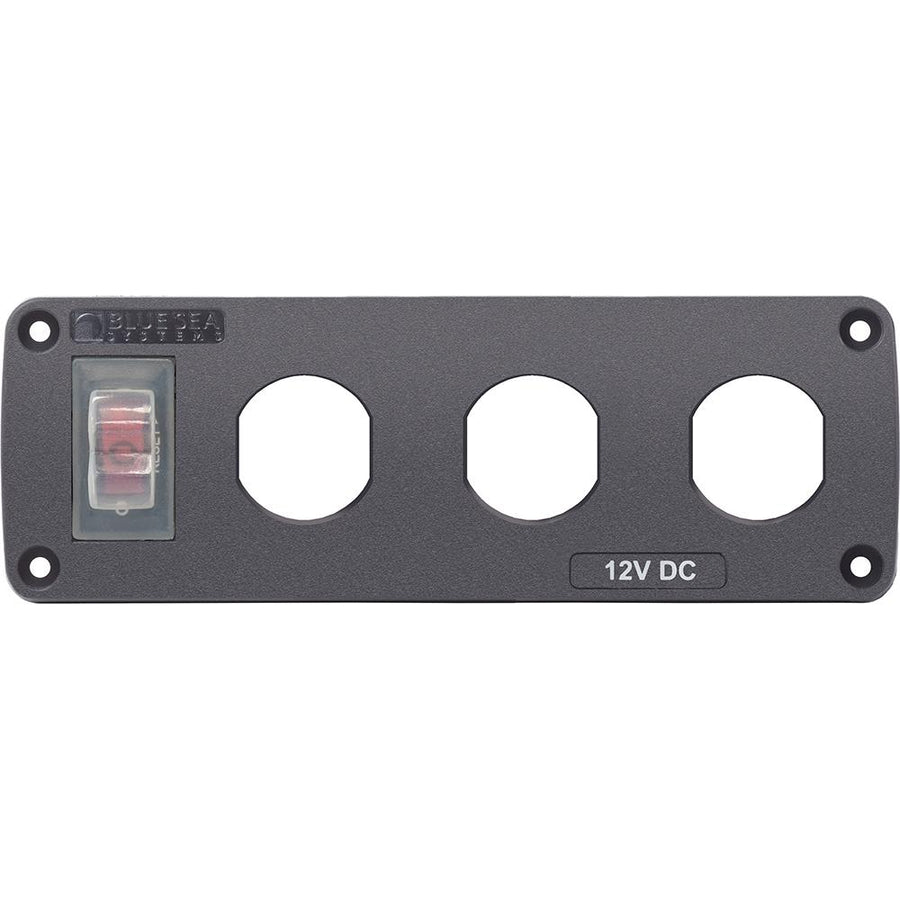 Blue Sea 4367 Water Resistant USB Accessory Panel - 15A Circuit Breaker, 3x Blank Apertures [4367] - 10X Marine