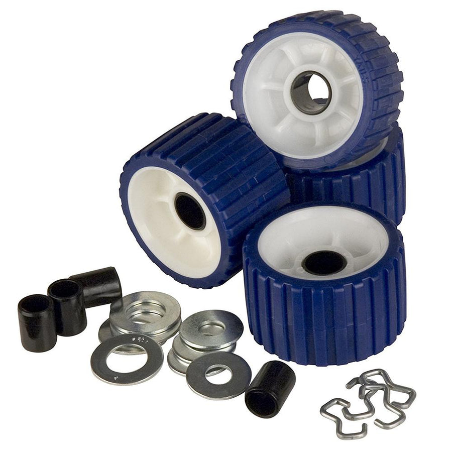 C.E. Smith Ribbed Roller Replacement Kit - 4-Pack - Blue [29320] - 10X Marine