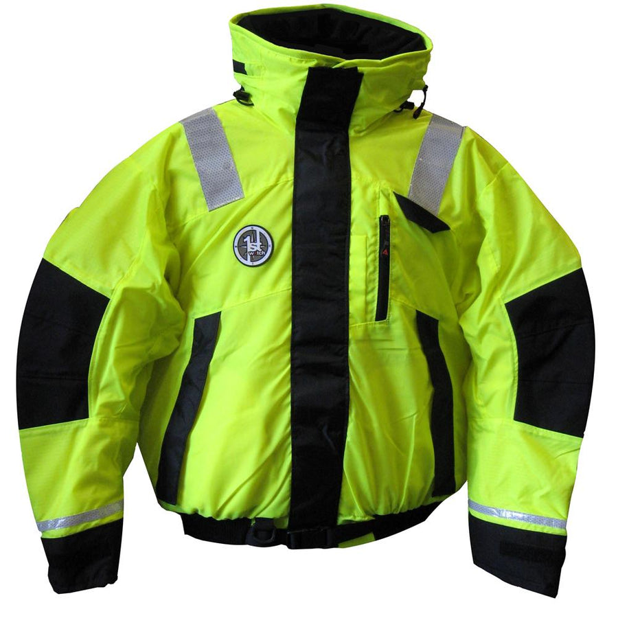 First Watch Hi-Vis Flotation Bomber Jacket - Hi-Vis Yellow-Black - Medium [AB-1100-HV-M] - 10X Marine
