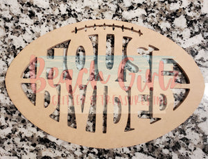 "House Divided Football-12"" wooden cutout"