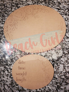Oval Birth Announcement Set