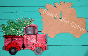 "12"" old style truck with Christmas tree-unfinished"