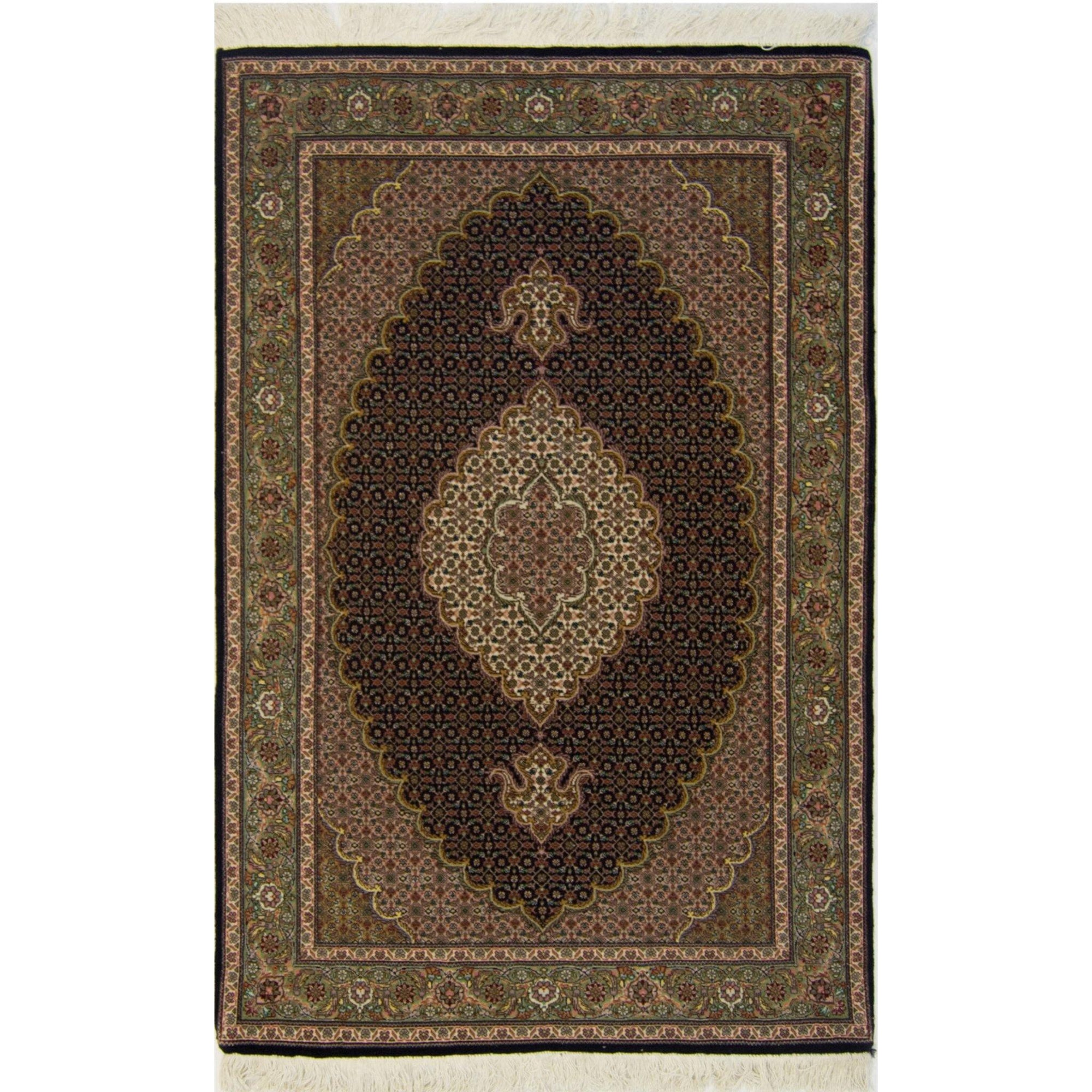 Persian Fine Hand-knotted Wool and Silk Tabriz-Mahi Rug 100 cm x 154 cm Persian-Rug | House-of-Haghi | NewMarket | Auckland | NZ | Handmade Persian Rugs | Hand Knotted Persian Rugs