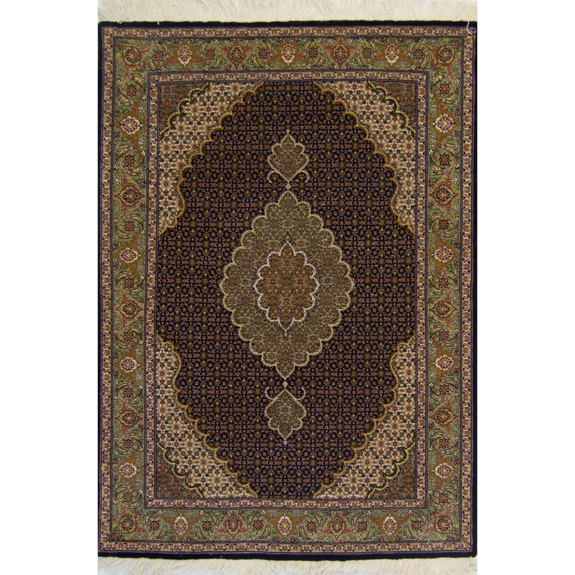 Super Fine Persian Hand-knotted Wool and Silk Tabriz - Mahi Rug 103 cm x 157 cm Persian-Rug | House-of-Haghi | NewMarket | Auckland | NZ | Handmade Persian Rugs | Hand Knotted Persian Rugs