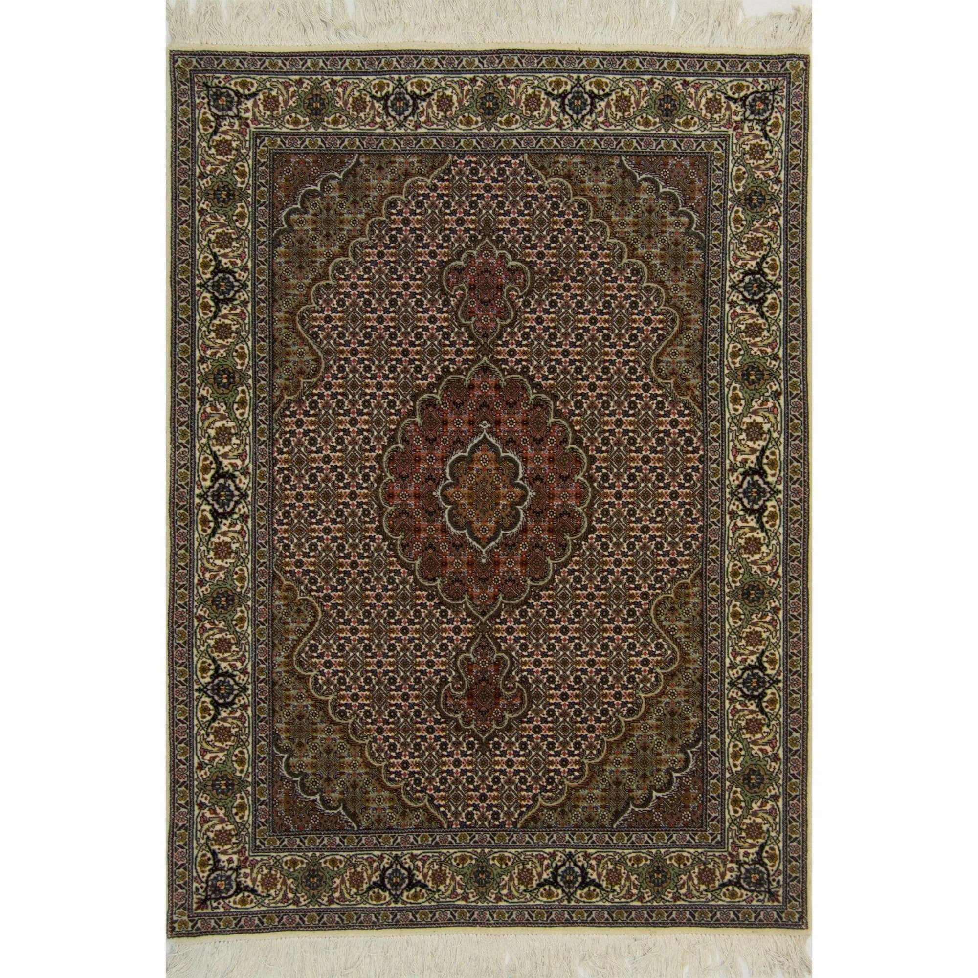 Fine Hand-knotted Persian Wool and Silk Tabriz - Mahi Design Rug 109cm x 148cm Persian-Rug | House-of-Haghi | NewMarket | Auckland | NZ | Handmade Persian Rugs | Hand Knotted Persian Rugs