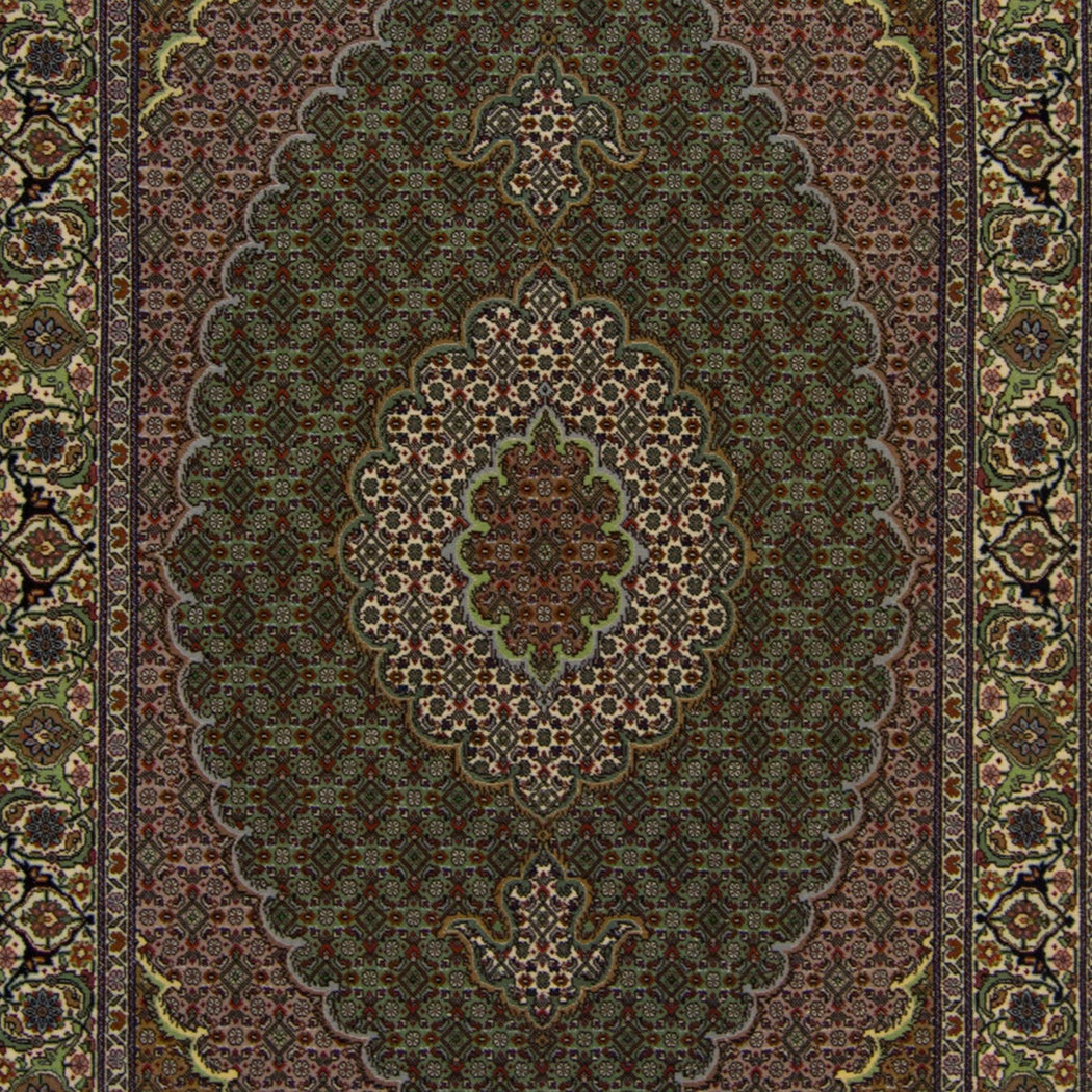 Super Fine Hand-knotted Persian Wool and Silk Tabriz - Mahi Rug 103 cm x 148 cm - House Of Haghi