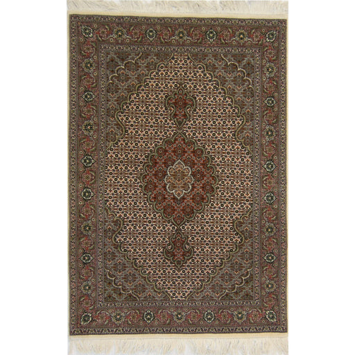 1 x 1.5 Meter_Persian_Fine Hand-knotted Persian Wool and Silk Tabriz - Mahi Rug_handknotted_Rug