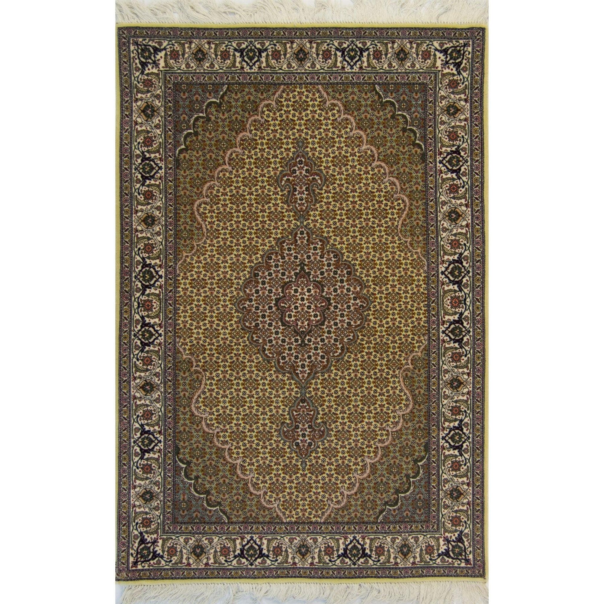 Fine Hand-knotted Persian Wool and Silk Tabriz - Mahi Rug 101cm x 155cm Persian-Rug | House-of-Haghi | NewMarket | Auckland | NZ | Handmade Persian Rugs | Hand Knotted Persian Rugs