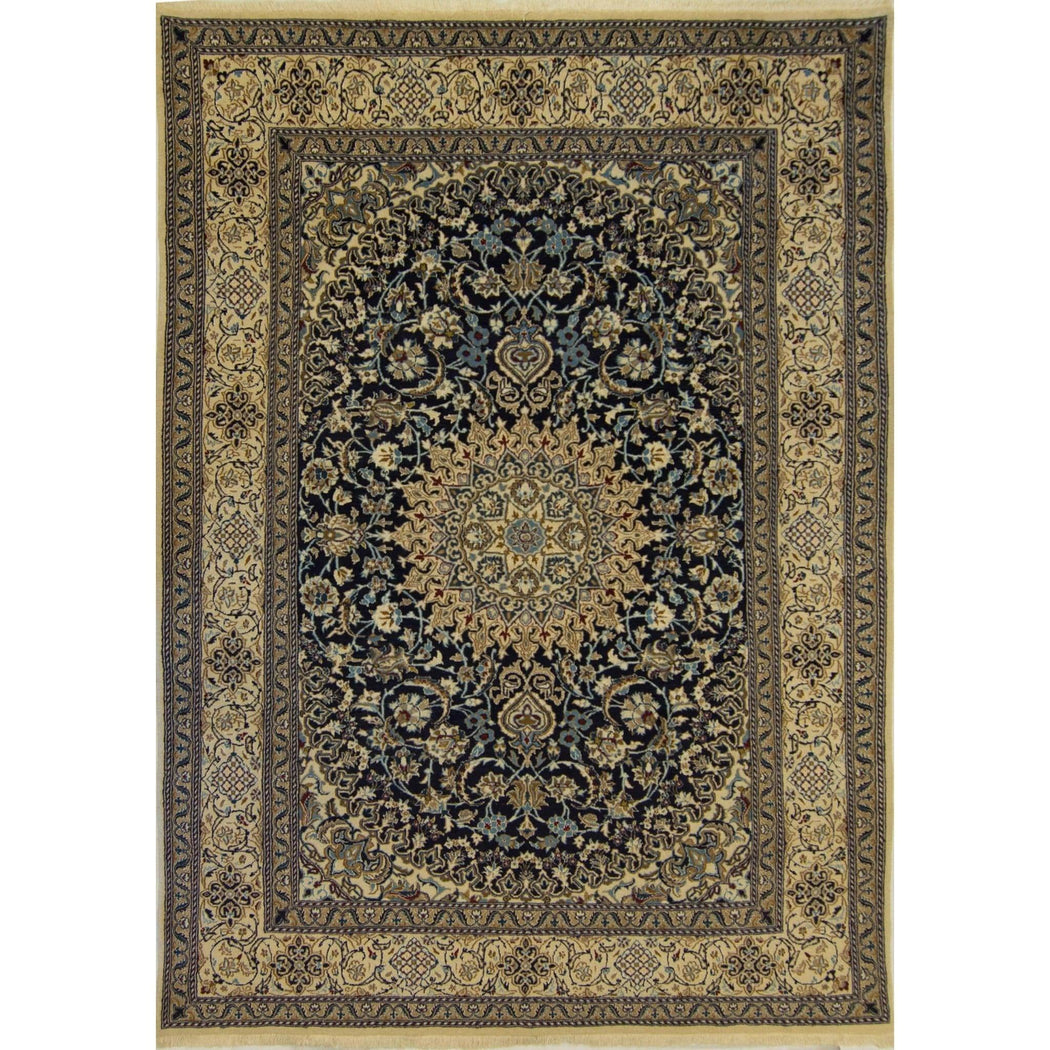 Genuine Fine Hand-knotted Wool & Silk Nain Rug - House Of Haghi