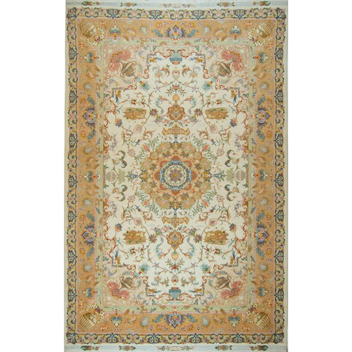 Super Fine Persian Hand-knotted Wool and Silk Tabriz Rug 200 cm x 309 cm - House Of Haghi