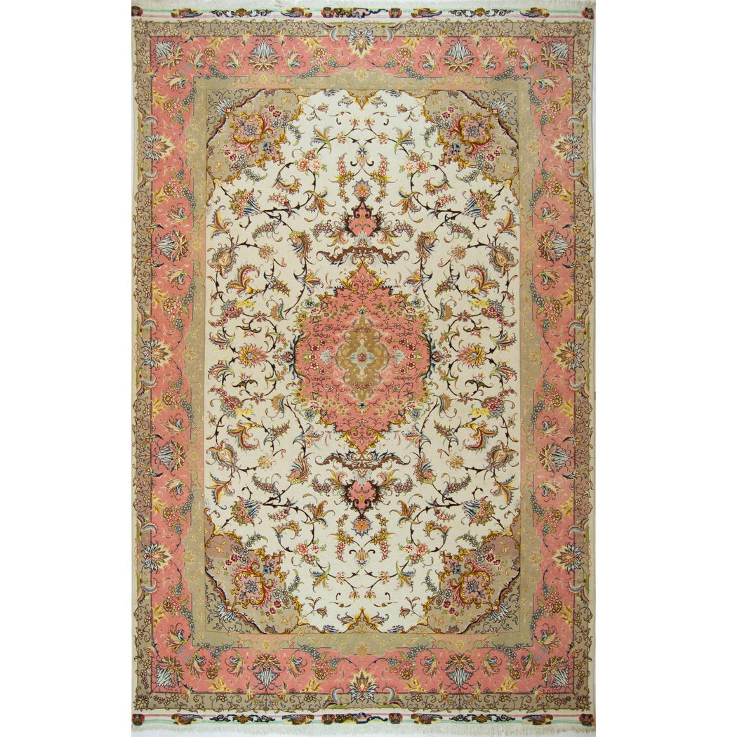Super Fine Hand-knotted Persian Wool and Silk Tabriz Rug 202 cm x 304 cm - House Of Haghi