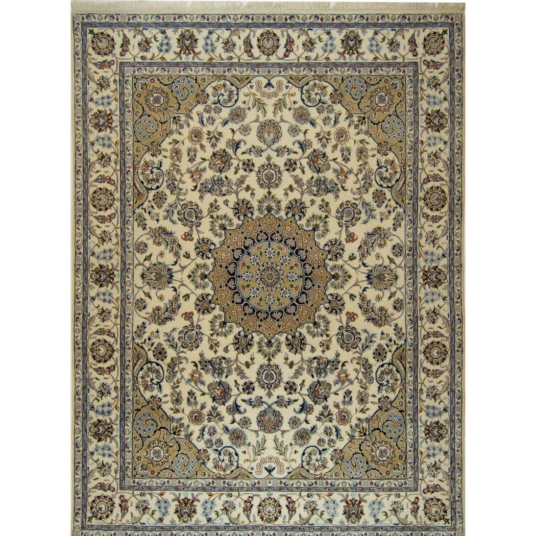 Fine Hand-knotted Wool and Silk Persian Nain Rug 189cm x 255cm - House Of Haghi